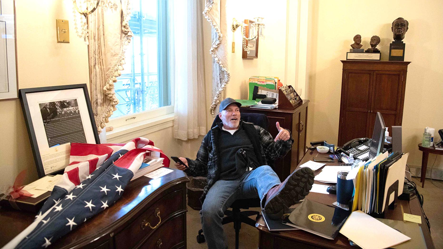 Who is Richard Barnett – Rioter pictured sitting Speaker Nancy Pelosi's office?