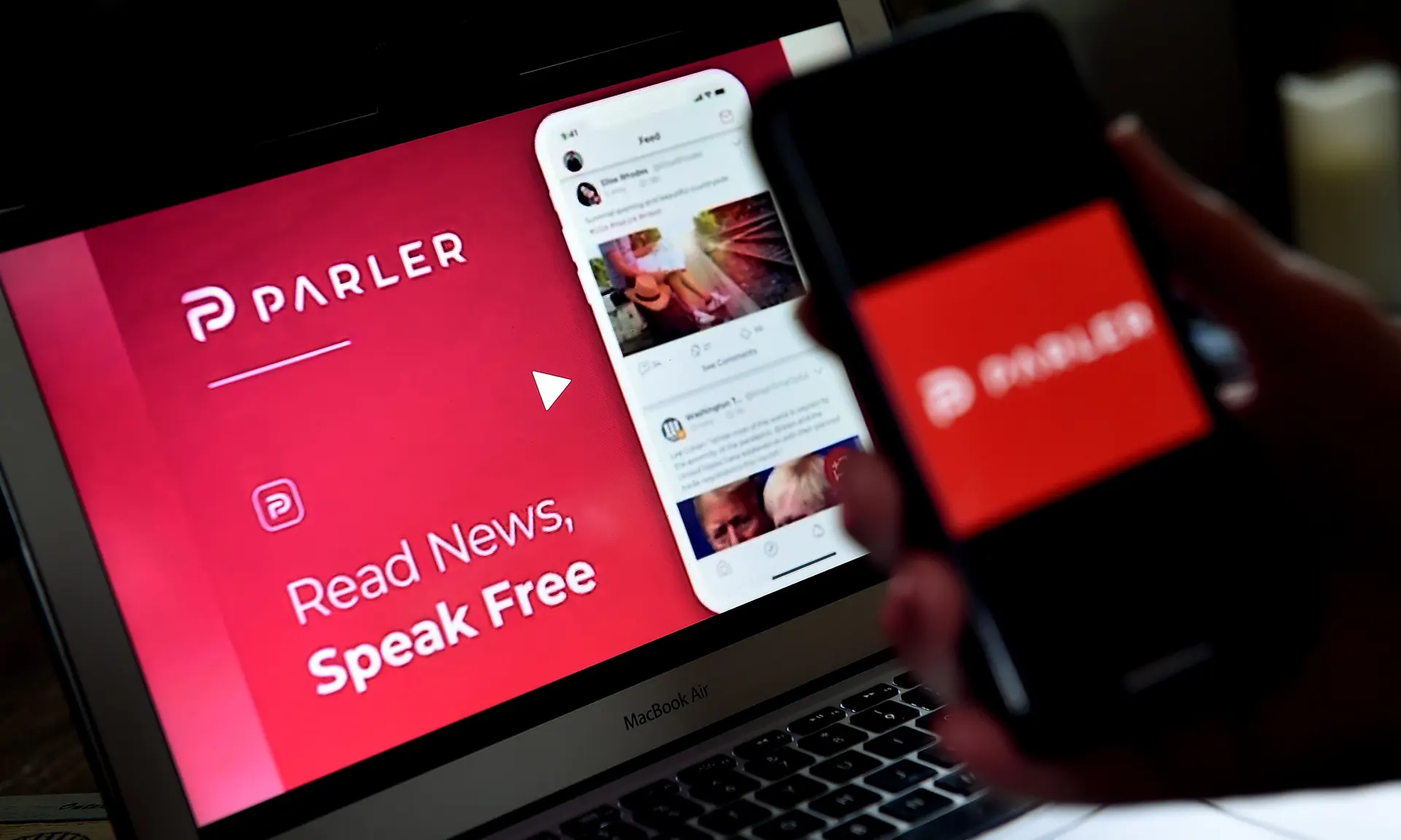 Founded in 2018, Parler has styled itself as a 'free speech-driven' space and largely attracted US conservatives. Photograph: Olivier Douliery/AFP/Getty Images