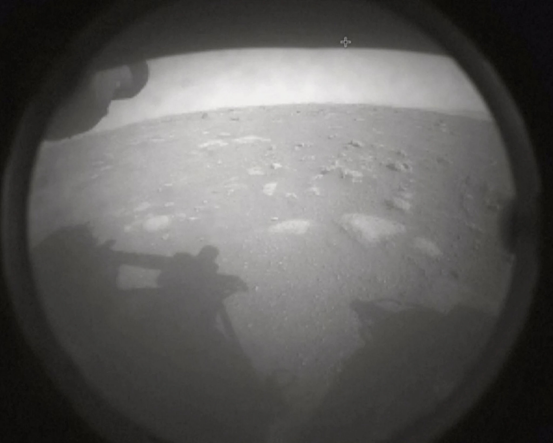 Perseverance released two images after its successful landing on Thursday.Credit...NASA TV