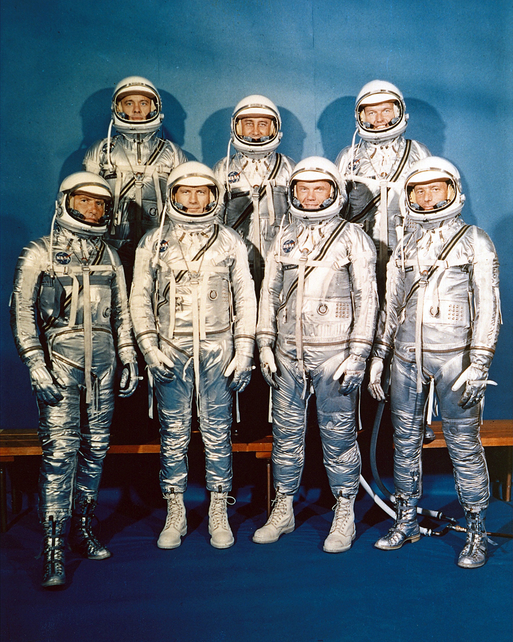 NASA announced the seven Project Mercury Astronauts on April 9, 1959, only six months later. They are: (front, l to r) Walter H. Schirra, Jr., Donald K. Slayton, John H. Glenn, Jr., and Scott Carpenter; (back, l to r) Alan B. Shepard, Jr., Virgil I. Gus Grissom, and L. Gordon Cooper. (Image credit: NASA)