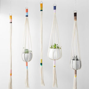 Colorful woven cords plant hangers
